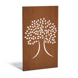 Cortenstaal sfeerpaneel 'Tree I' 1100x50x1800