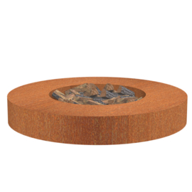 Ronde cortenstaal vuurtafel 'Siena' 175x28 cm