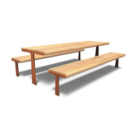 Cortenstaal picknickset 'Manuel' 2400x2200x900