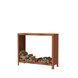 Cortenstaal houtopslag  - L120xD40xH100 cm