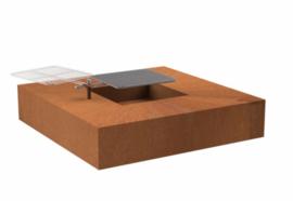 Vierkante cortenstaal vuurtafel 'Arezzo' inclusief grillplaat 120x120x28 cm