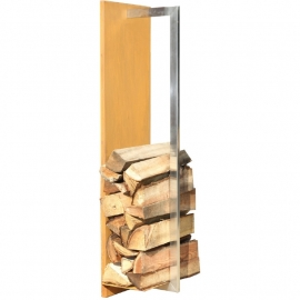 Cortenstaal houtopslag met RVS stang - L100xB25xD22 cm