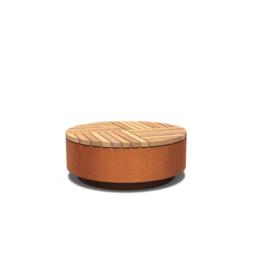 Cortenstaal hocker rond met hardhouten zitting 1150x450 mm