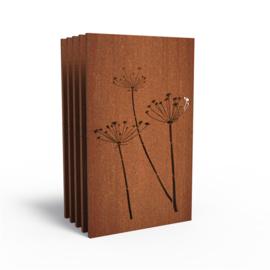 5 stuks Cortenstaal sfeerpaneel 'Hogweed' 1100x50x1800