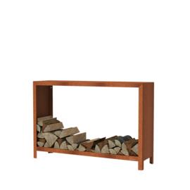 Cortenstaal houtopslag  - L150xD40xH100 cm
