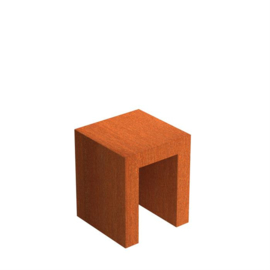 Cortenstaal U-sokkel 50x50x60 cm