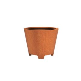 Cortenstaal plantenbak rond - taps met poten Ø100xH80 cm
