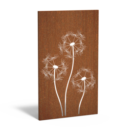 Cortenstaal sfeerpaneel 'Dandelion' 1100x50x1800