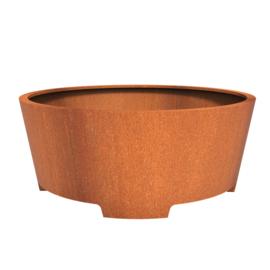 Cortenstaal plantenbak rond - taps met poten Ø200xH80 cm