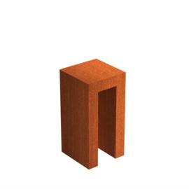 Cortenstaal U-sokkel 40x40x80 cm
