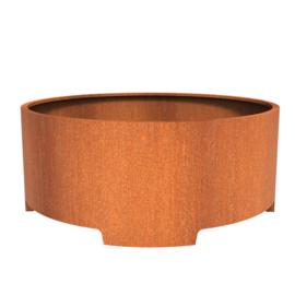 Cortenstaal plantenbak rond met poten- cilindervorm Ø200xH80 cm