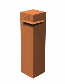 Cortenstaal brievenbus 'Tibo' 30x30x120 cm