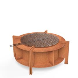 Ronde cortenstaal vuurtafel 'Tomba' inclusief grillplaat 80x25 cm