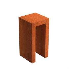 Cortenstaal U-sokkel 50x50x100 cm