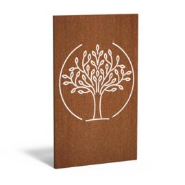 5 stuks Cortenstaal sfeerpaneel 'Tree' 1100x50x1800