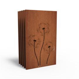 5 stuks Cortenstaal sfeerpaneel 'Dandelion' 1100x50x1800