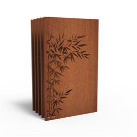 5 stuks Cortenstaal sfeerpaneel 'Bamboo' 1100x50x1800