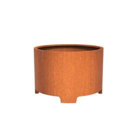 Cortenstaal plantenbak rond met poten- cilindervorm Ø120xH80 cm