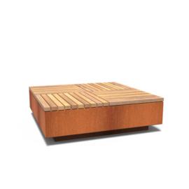 Cortenstaal hocker vierkant met hardhouten zitting 1430x1430x450 mm