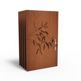 5 stuks Cortenstaal sfeerpaneel 'Bamboo III' 1100x50x1800