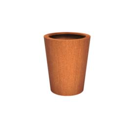 Cortenstaal plantenbak rond - taps Ø80xH100 cm