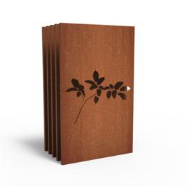 5 stuks Cortenstaal sfeerpaneel 'Lilac' 1100x50x1800