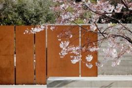 Cortenstaal tuinwand/muur 'Sotto'  400x15x200 cm
