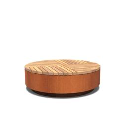 Cortenstaal hocker rond met hardhouten zitting 1430x450 mm