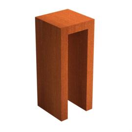 Cortenstaal U-sokkel 50x50x120 cm