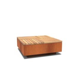 Cortenstaal hocker vierkant met hardhouten zitting 1150x1150x450 mm
