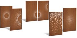 5 stuks Cortenstaal sfeerpaneel 'Tree I' 1100x50x1800