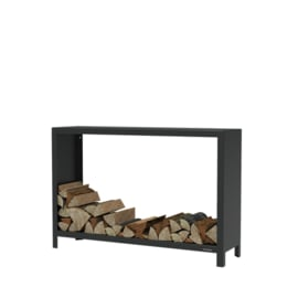 Zwart staal houtopslag  - L150xD40xH100 cm