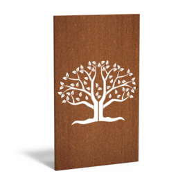 Cortenstaal sfeerpaneel 'Tree III' 1100x50x1800