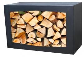Stalen houtopslag met zwarte coating  - L80xB50xD35 cm