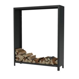 Zwart staal houtopslag  - L150xD40xH180 cm