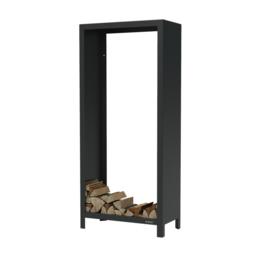 Zwart staal houtopslag  - L80xD40xH180 cm