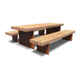 Cortenstaal picknickset 'Bodega' 2400x890x900 mm