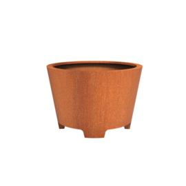 Cortenstaal plantenbak rond - taps met poten Ø120xH80 cm