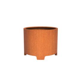 Cortenstaal plantenbak rond met poten- cilindervorm Ø100xH80 cm