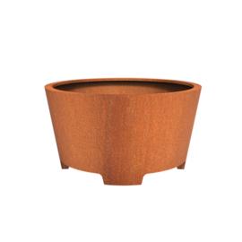 Cortenstaal plantenbak rond - taps met poten Ø150xH80 cm