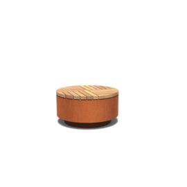 Cortenstaal hocker rond met hardhouten zitting 850x450 mm