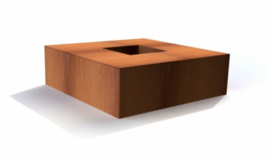 Vierkante cortenstaal vuurtafel 'Arezzo' 120x120x28 cm