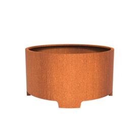 Cortenstaal plantenbak rond met poten- cilindervorm Ø150xH80 cm