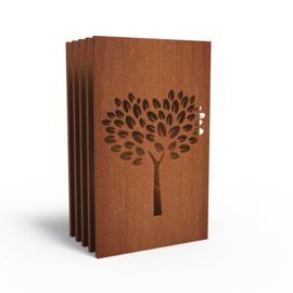 5 stuks Cortenstaal sfeerpaneel 'Tree II' 1100x50x1800