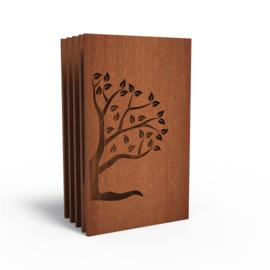 5 stuks Cortenstaal sfeerpaneel 'Tree V' 1100x50x1800