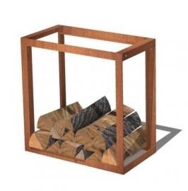 Cortenstaal houtopslag  - L49xD25xH49 cm