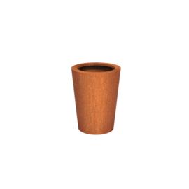 Cortenstaal plantenbak rond - taps Ø60xH80 cm