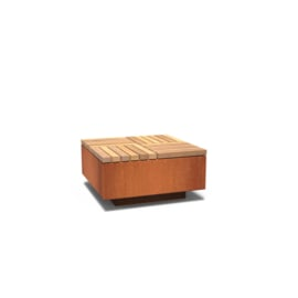 Cortenstaal hocker vierkant met hardhouten zitting 850x850x450 mm
