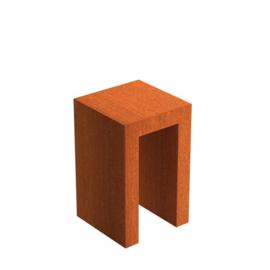 Cortenstaal U-sokkel 50x50x80 cm