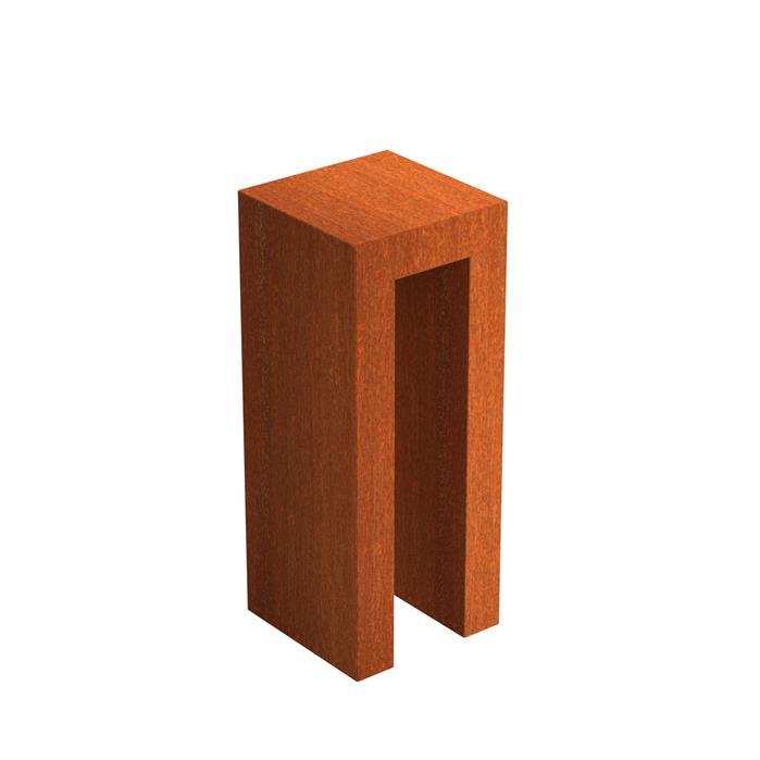 Cortenstaal U-sokkel 40x40x100 cm